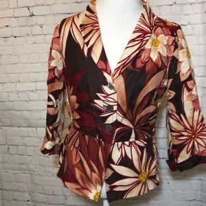 Maxmara Linen Jacket Blazer Floral